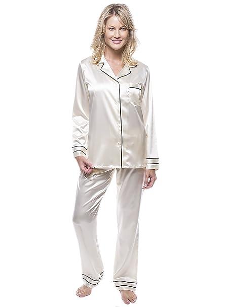 Noble Mount Classico Conjunto Pijama de Satén para Mujer - Crema - M