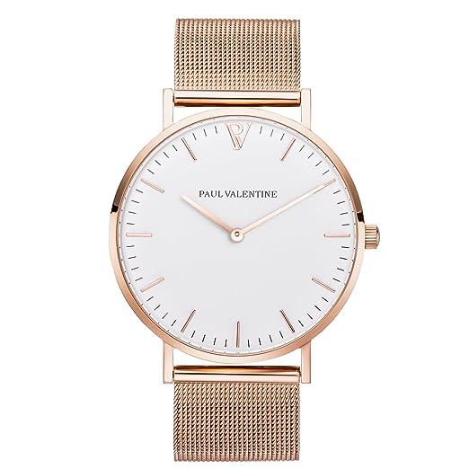 Reloj de pulsera para mujer de Paul Valentine, malla marina en oro rosa, reloj