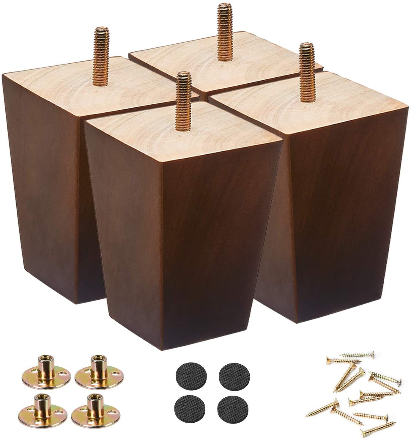 Wood Furniture Legs 4 inch Sofa Legs Pack of 4,Couch Legs Square Brown,Mid century desk legs,Sofa replacement parts, For Dresser legs Sideboard Recliner couch Circle chair Couch riser Coffee Table