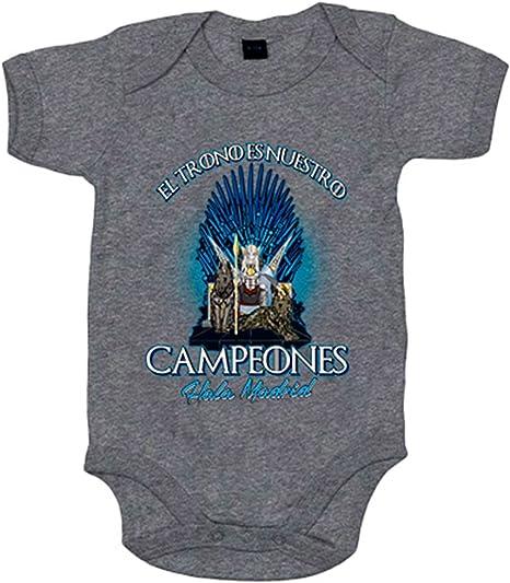 Body bebé Madrid fútbol el trono es nuestro Real - Gris, 6-12 meses: Amazon.es: Bebé