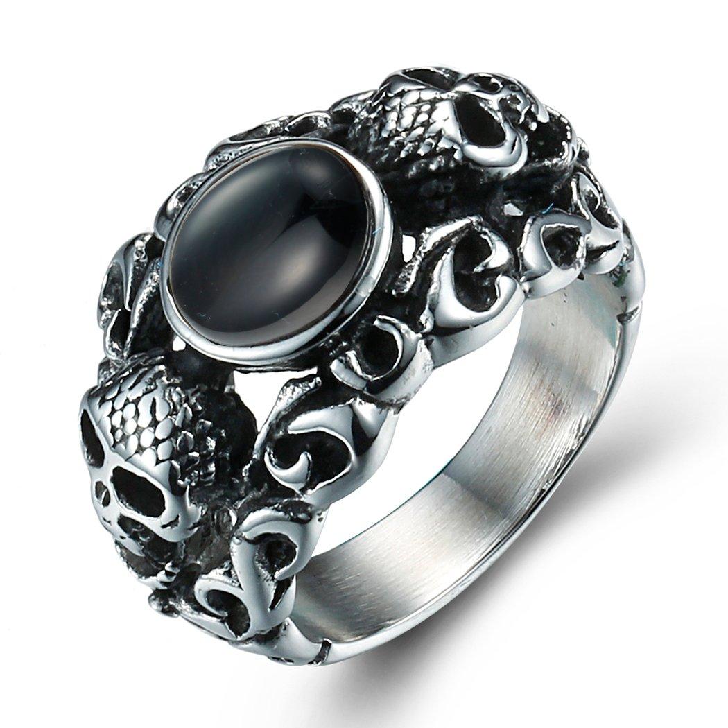 boho da uomo in acciaio inossidabile gotico Biker Skull agata anello vintage argento nero Qianyao Co. Ltd R718