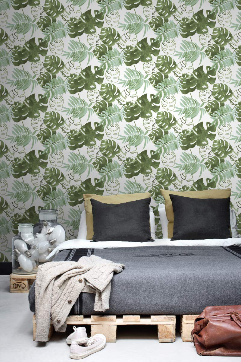 de ESTAhome.nl 138887 papel pintado hojas de la selva tropical pintadas verde selva tropical