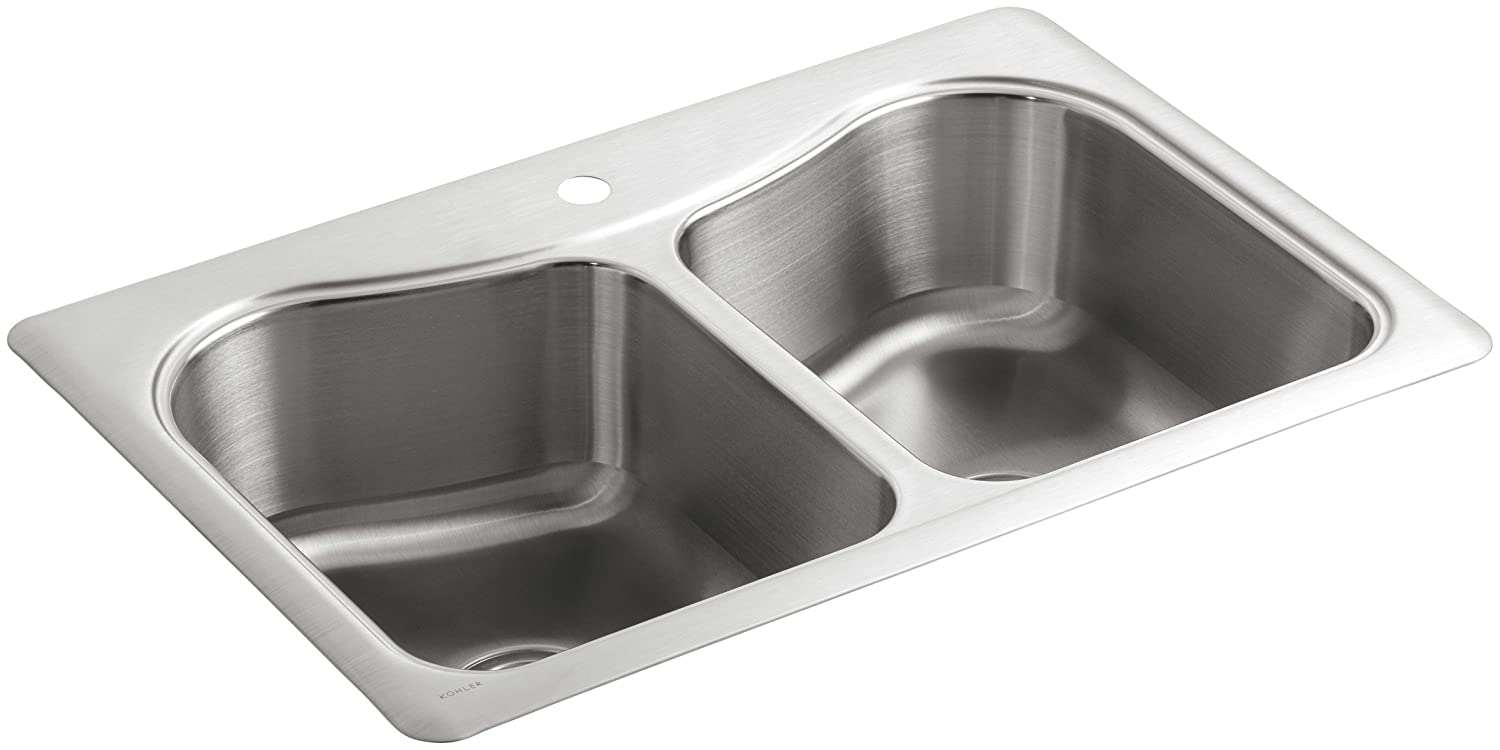 kohler k 3369 1 na staccato double basin self rimming kitchen sink. beautiful ideas. Home Design Ideas
