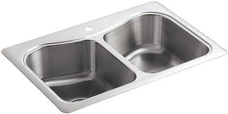KOHLER K-3369-1-NA Staccato Double-Basin Self-Rimming Kitchen Sink ...