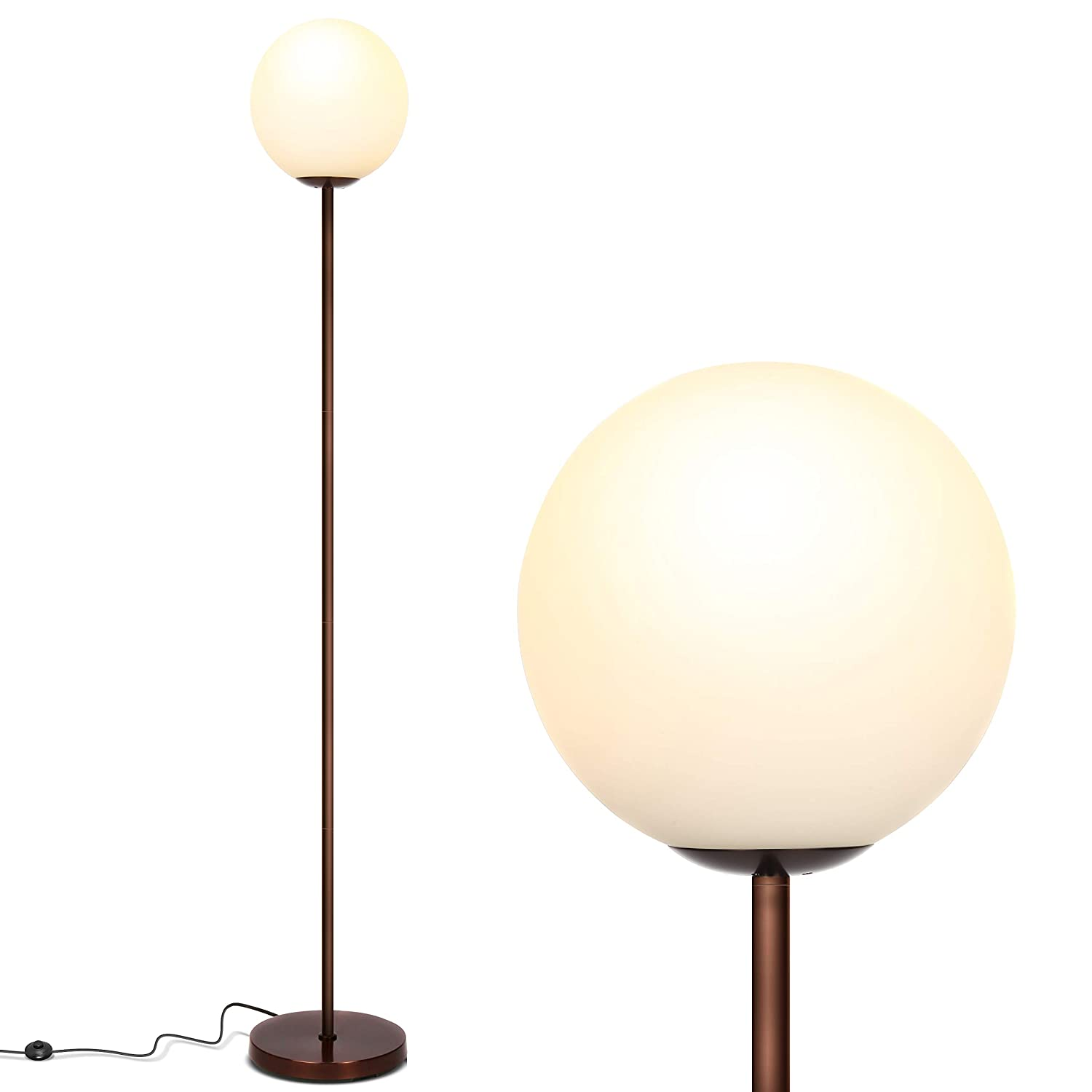 Brightech Luna - Frosted Glass Globe LED Floor Lamp - Mid Century Modern, Standing Lamp for Living Rooms - Tall Pole Light for Bedroom & Office - with LED Bulb - Oil Brushed Bronze