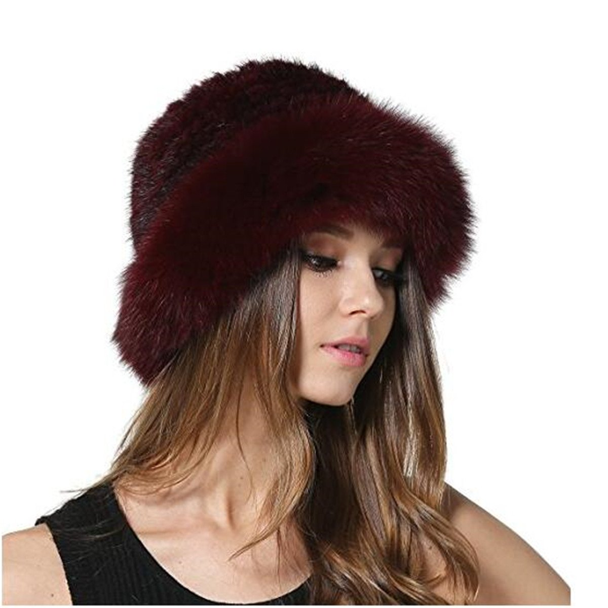 MEEFUR Winter Women's Genuine Fur Caps Knitted Real Mink Fur Hats with Fox Brim OneSize) AORUI00831A-Black-Onesize