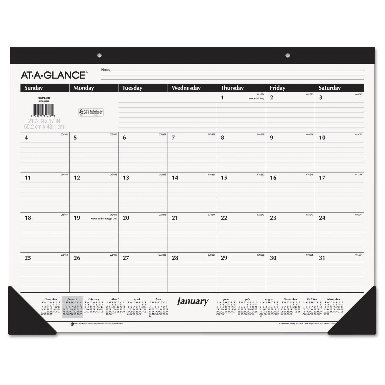 AT-A-GLANCE 2019 Desk Calendar, Desk Pad, 21-3/4'' x 17'', Standard, Ruled Blocks (SK2400)