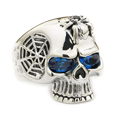 0a827f62ff61 LINSION European Style Skull Ring CZ Eyes Skull 925 Sterling Silver Spider Mens  Biker Punk Jewerly 9Q101B  Amazon.co.uk  Jewellery