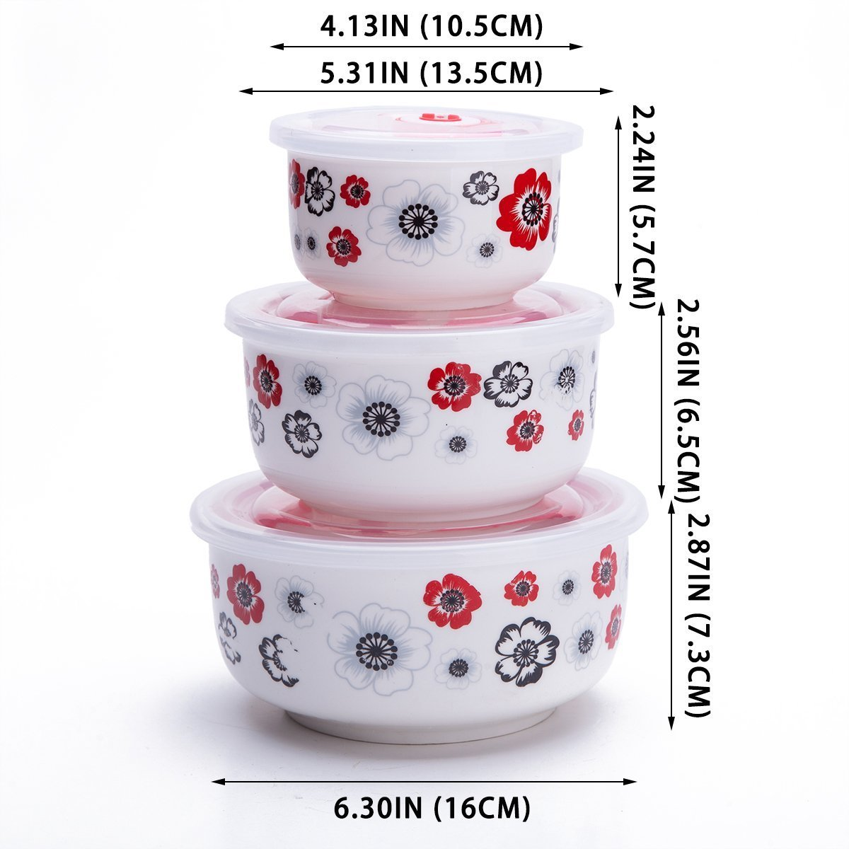 618c361a819f Amazon.com: Set Of 3 Ceramic Lunch Bento Boxes / Food Carrier / Food ...