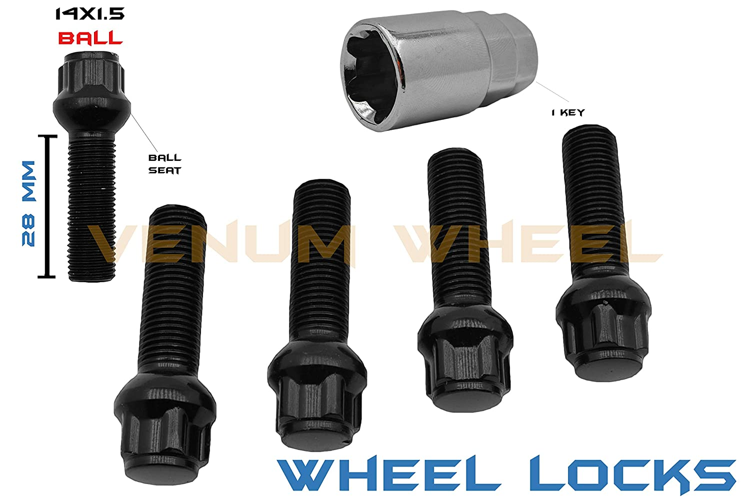 5 Pc Black Ball Seat Wheel Locks M14x1.5 Locking Lug Bolts Steel (28 MM) Stock Shank With Key Tool Included Compatible With Audi Mercedes Benz Volkswagen W/Factory Wheels Venum Wheel Accessories