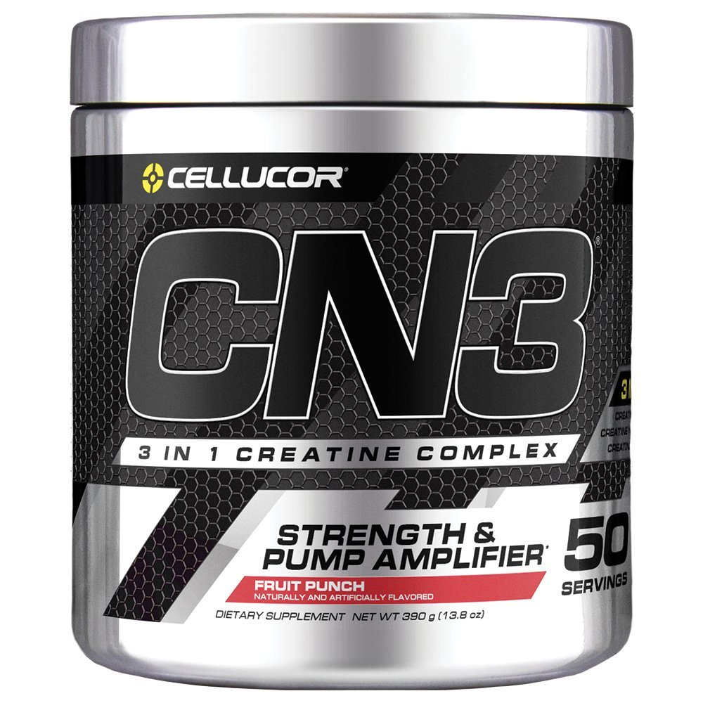 Cellucor CN3 Creatine Nitrate, Creatine HCl, Creatine Monohydrate Powder, Strength and Pump Amplifier, Fruit Punch, 50 Servings