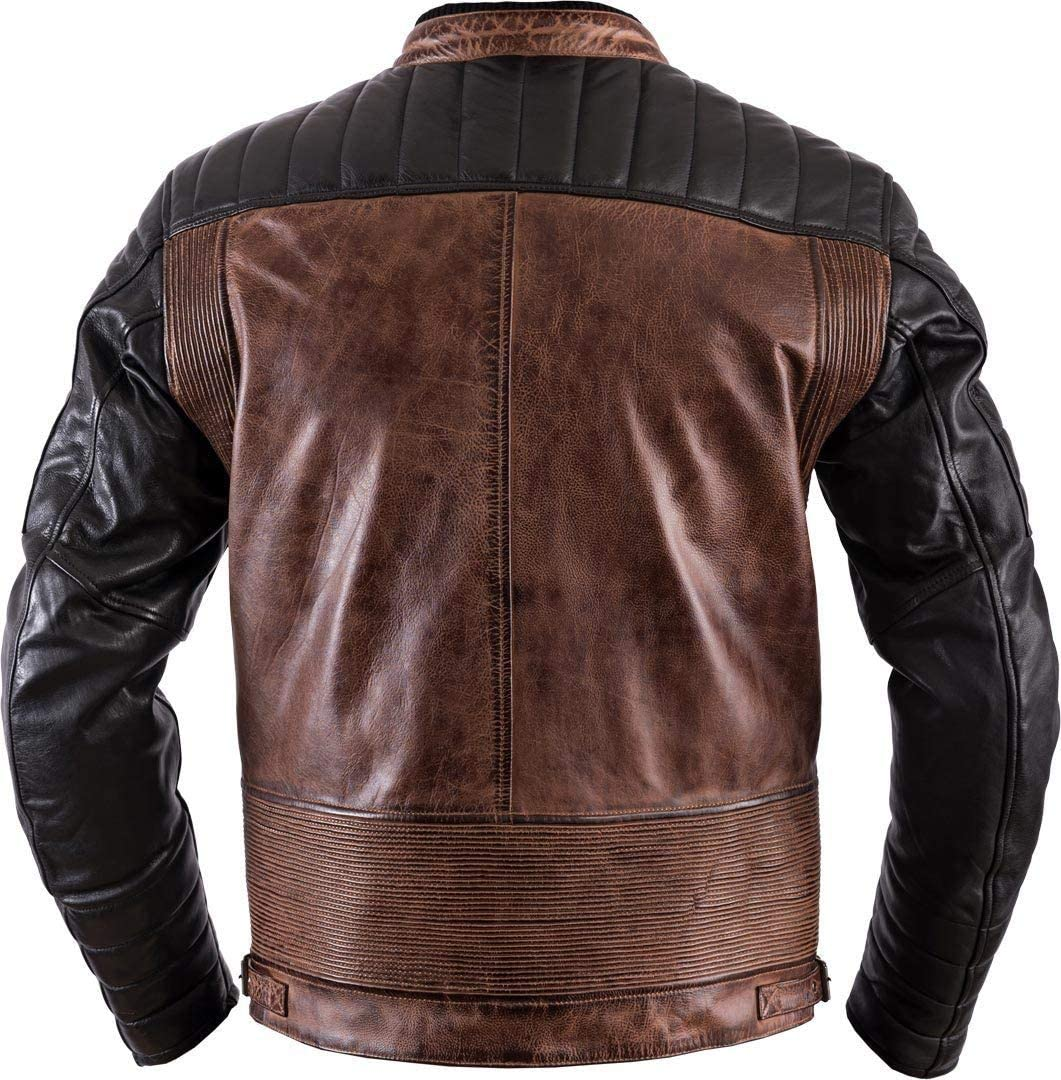 Giacca da motociclista Helstons Cruiser taglia: XXL in pelle colore: nero cammello//nero