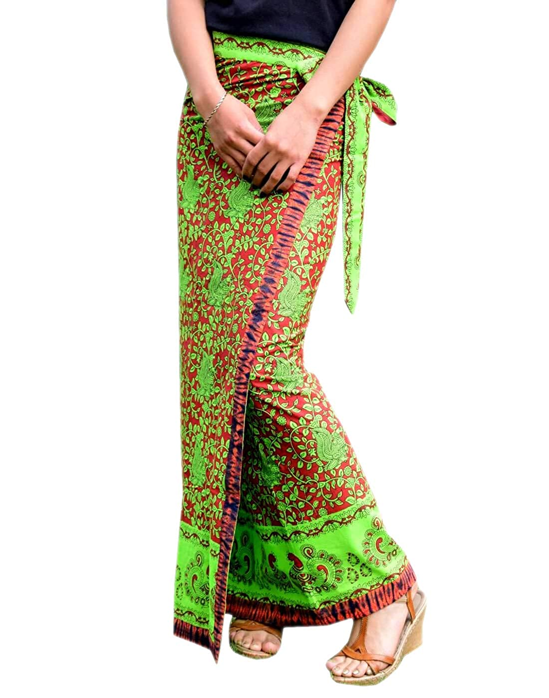 GiftPiper Hand Block Print Wrap Around Skirt in MUL Cotton Green