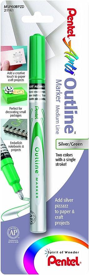 Pentel® Outline Marker™ Medium Point Silver With Black Outlines 12pk MSP60-ZA