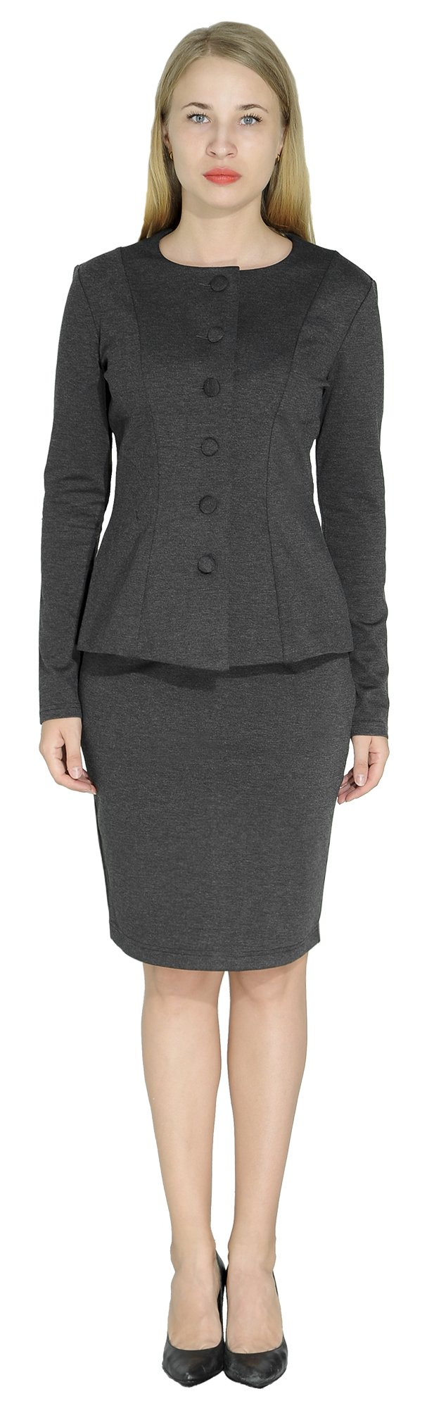 Marycrafts Women's Formal Office Business Work Skirt Suit Set 14 Dark Gray