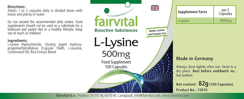 L-Lisina cápsulas 500mg - Altamente dosificado - 100 cápsulas - L ...