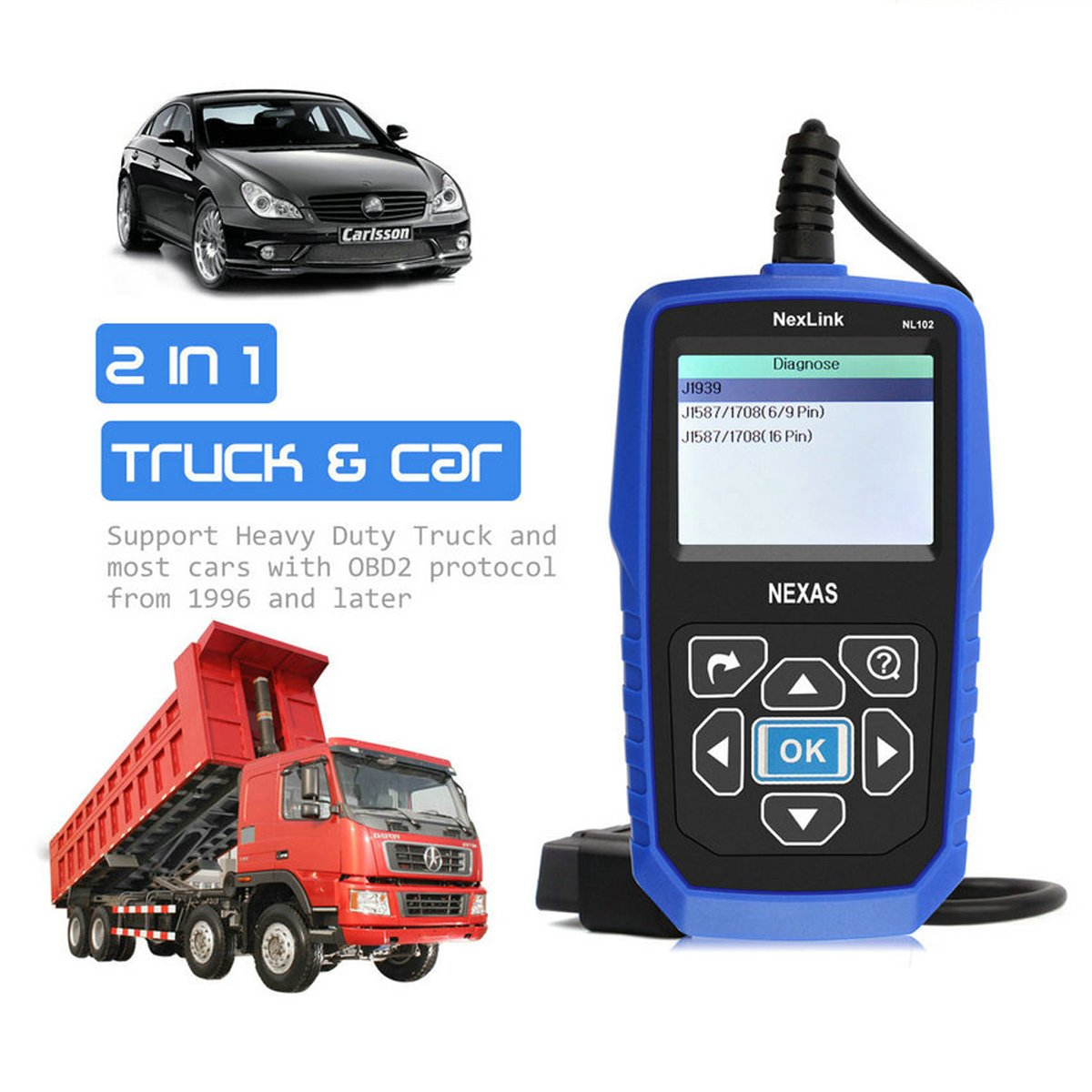 Amazon.com: NEXAS Heavy Duty Truck Scanner NL102 OBD/EOBD+HDOBD Diagnostic  Scanner Scan Tools Engine ABS Transmission Check Trucks & Cars 2 In 1 Codes  ...