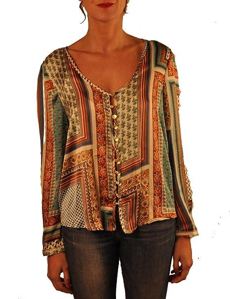Hope1967 - Blusa de Mujer Mandarina de saten estampada con botones dorados personalizados , talla 048