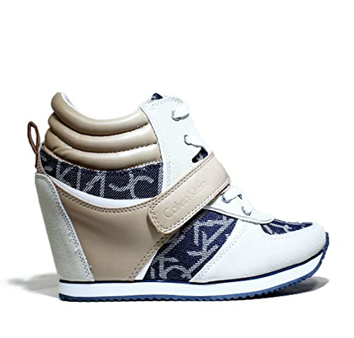 89898f07514e39 Calvin Klein Jeans Art. RE9265/MDL Viridiana CK Logo Sneaker Zeppa Interna  Nuova Collezione Scarpe Donna Primavera Estate 2016 RE9265/MDL Beige Nero:  ...