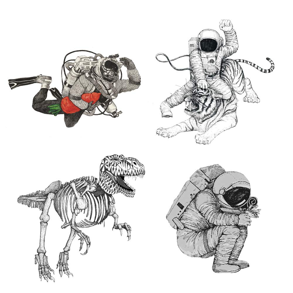 4 Creative Design Temporary Tattoos by Inktells-Updated 2020-Astronaut,Dinosaur,Tiger Tattoos for Women,Girls and Men Fake Tattoos for for neck,back,hand and forearm (2 sheets)