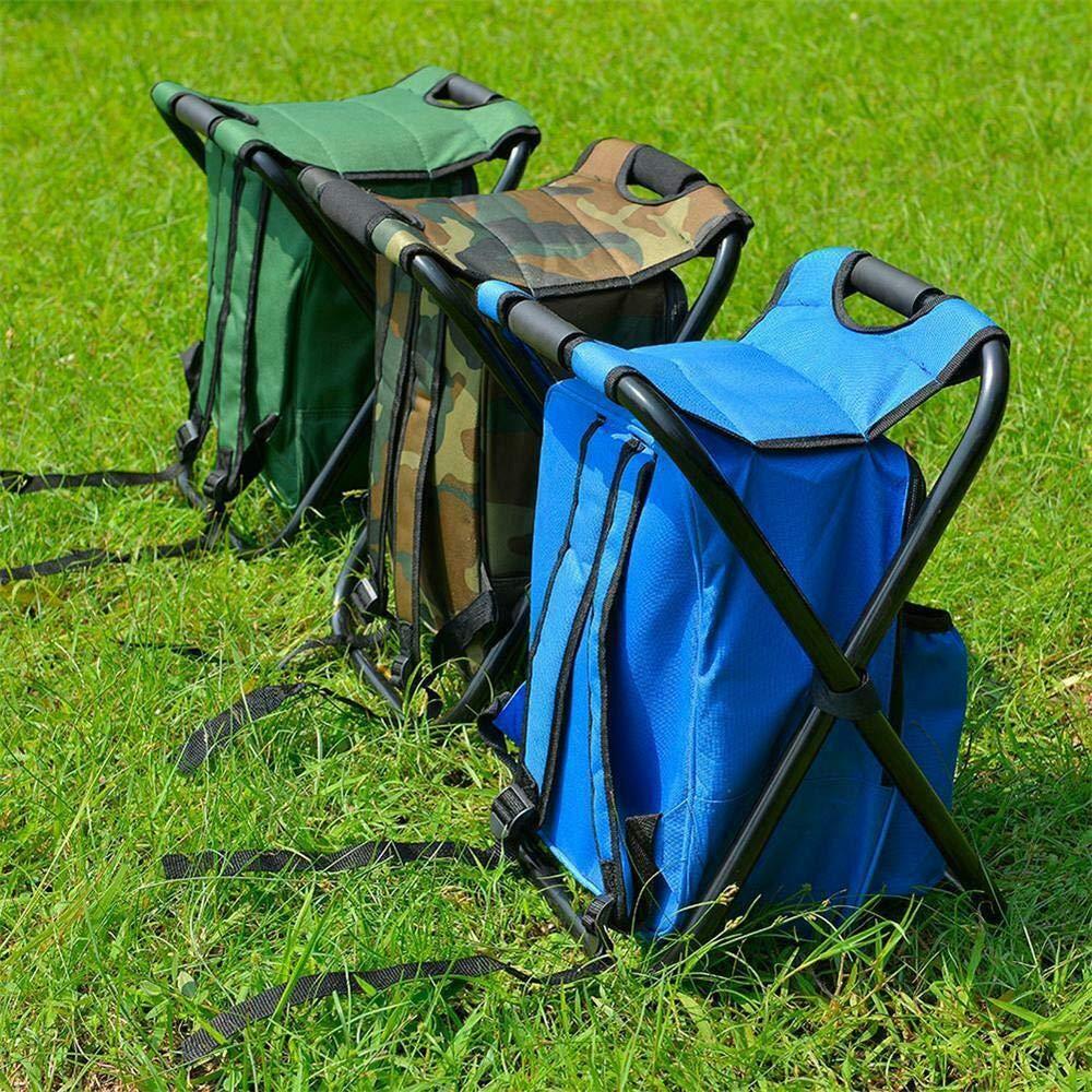 yyqxhly Silla de Pesca para Acampar al Aire Libre Taburete Senderismo Mochila port/átil con refrigerador Bolsa de Picnic con Aislamiento Asiento Camuflaje Asiento Bolsa de Mesa