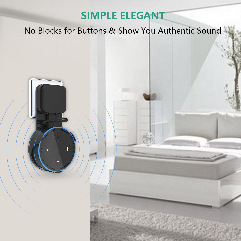 bedee Support Mural pour Echo Dot (2ème génération), Prise Wall Mount Hanger Holder pour Alexa Home Voice Assistants, avec Un Personnalisé Sourt câble USB