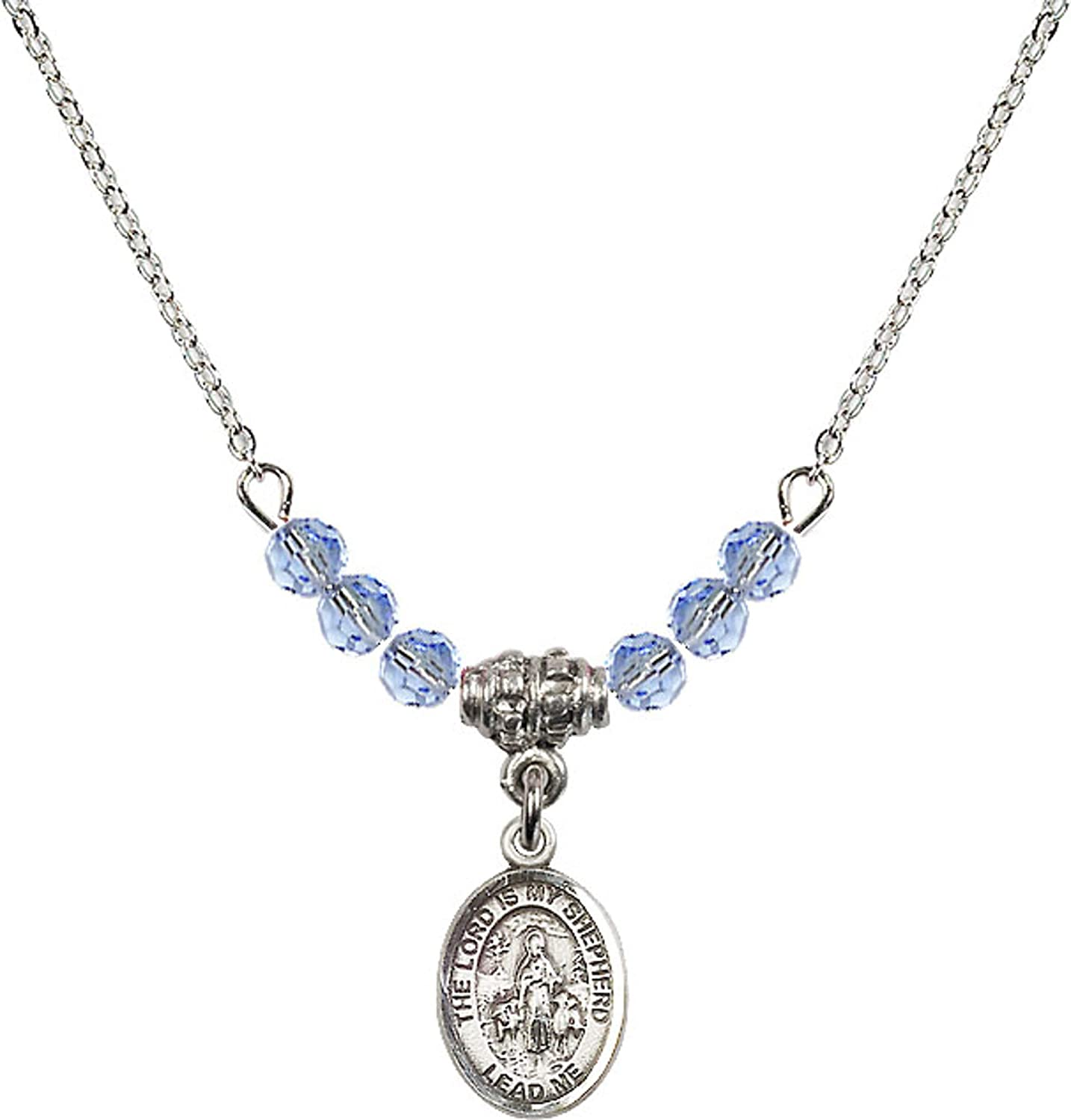 Bonyak Jewelry 18 Inch Rhodium Plated Necklace w// 4mm Light Blue September Birth Month Stone Beads and Lord is My Shepherd Charm