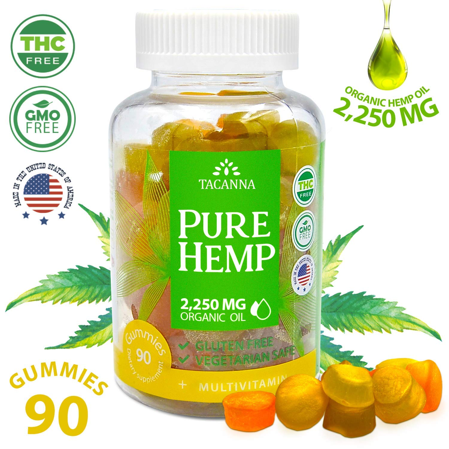 Natural Hemp Gummies - Ultra Volume 2250Mg - 90pcs - Premium Hemp Extract - Relieve Stress, Pain and Anxiety - Omega 3, 6, 9 - Made in USA (90) by TACANNA