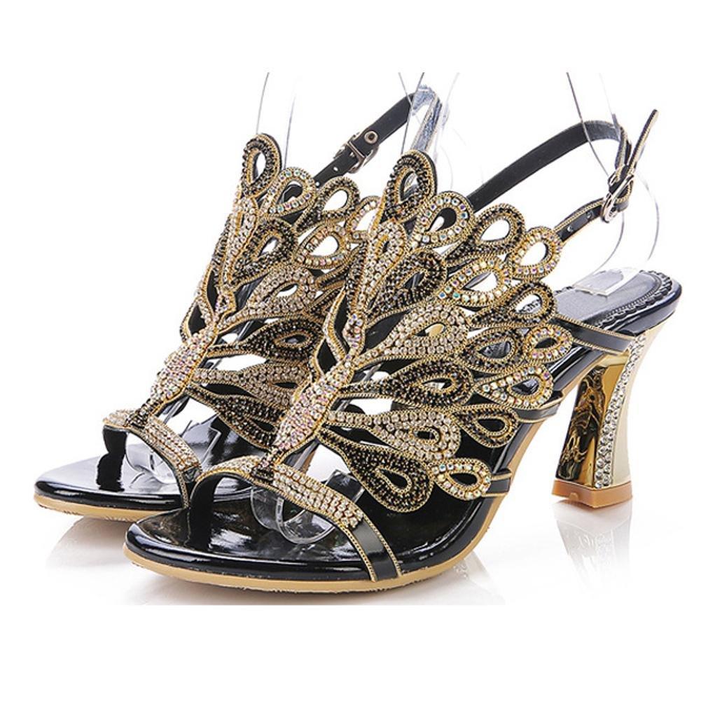 Luxuriouml;s Kristall Dicke High Heels Diamant Sandalen Handgefertigt Leder Frau Abend Bankett Party Nachtclub Pumps Hohl Schnalle Hausschuhe Schuhe43|black