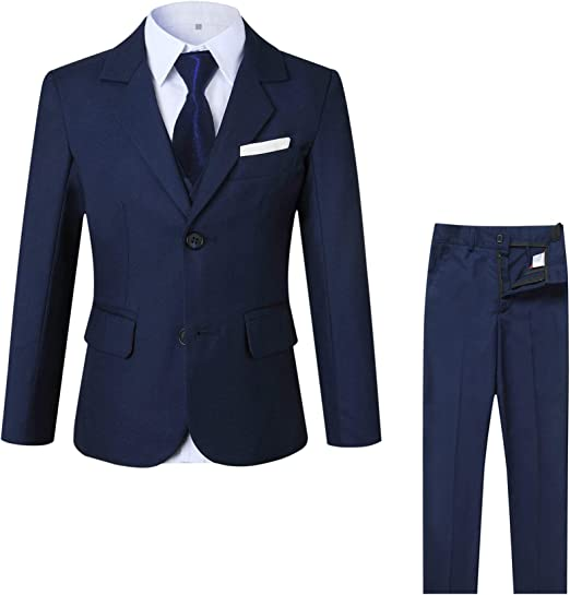 Baby Boy Navy Outfit Shirt Waistcoat Trousers Smart Wedding Formal Party Suit