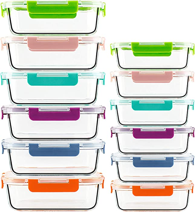 UMI UMIZILI Glass Food Storage Containers 12-Pack for Kitchen Use, Containers with Multicolor Lids for Meal Prep