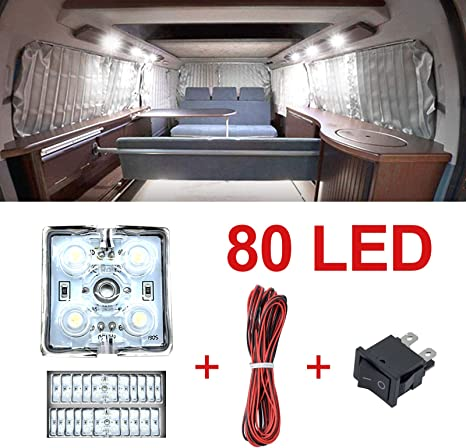 Ruesious 80 Led Auto Innenraumbeleutung Lampe Interior Licht 20x4 Leseleuchte Led Panel Kits Weiß 12v Auto