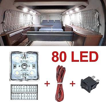 con interruttore on//off 12 V 2 pezzi 4,5 W barca camper 1 striscia bianca per camion 72 LED per interni auto