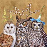 """Paperproducts Designs """"Owl Family by Vicki Sawyer"""" Paper Cocktail/Beverage Napkins, Gold"""