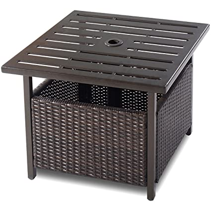 Amazon Com Custpromo Outdoor Bistro Table Rattan Wicker Steel Side