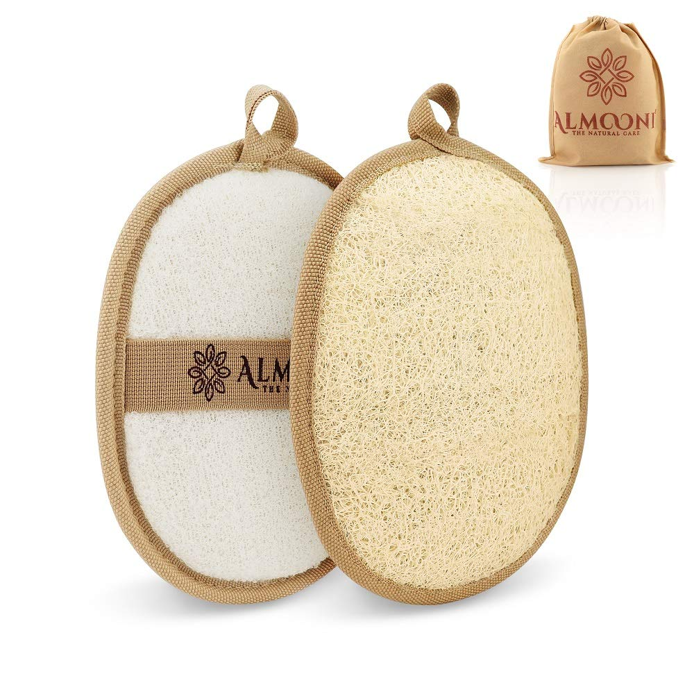 Premium Exfoliating Loofah Pad Body Scrubber, Made with Natural Egyptian Shower Loufa Sponge That Gets You Clean, Not Just Spreading Soap (2 Pack)