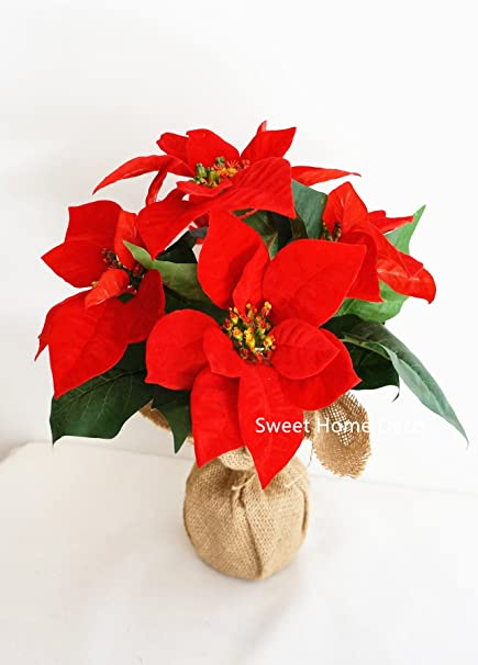 Amazon sweet home deco 12 silk poinsettias artificial flower sweet home deco 12 silk poinsettias artificial flower arrangement christmas holiday decoration 5 mightylinksfo