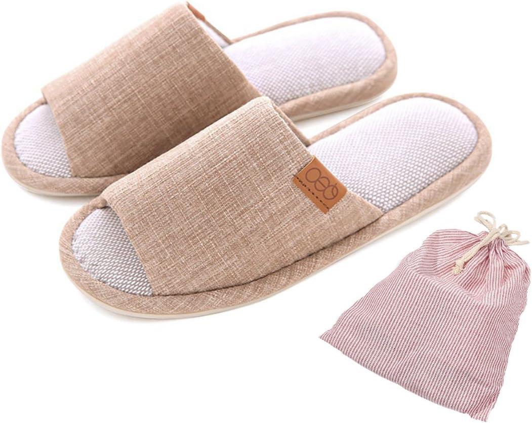 Happy Lily - Pantuflas antideslizantes para hombre/mujer, zapatillas de algodón y lino para estar en casa, zapatillas que absorben la humedad, con bolsa gratuita para guardarlas