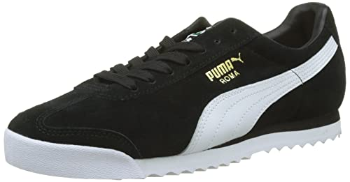 Puma Roma Suede, Zapatillas Unisex Adulto, Negro (Puma Black-Puma White-Puma Team Gold-Amazon Green), 38.5 EU