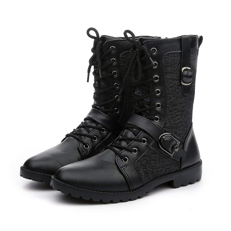 Autumn Winter Punk Martin Boots Men Fashion PU Leather Motorcycle Black Vintage Boots