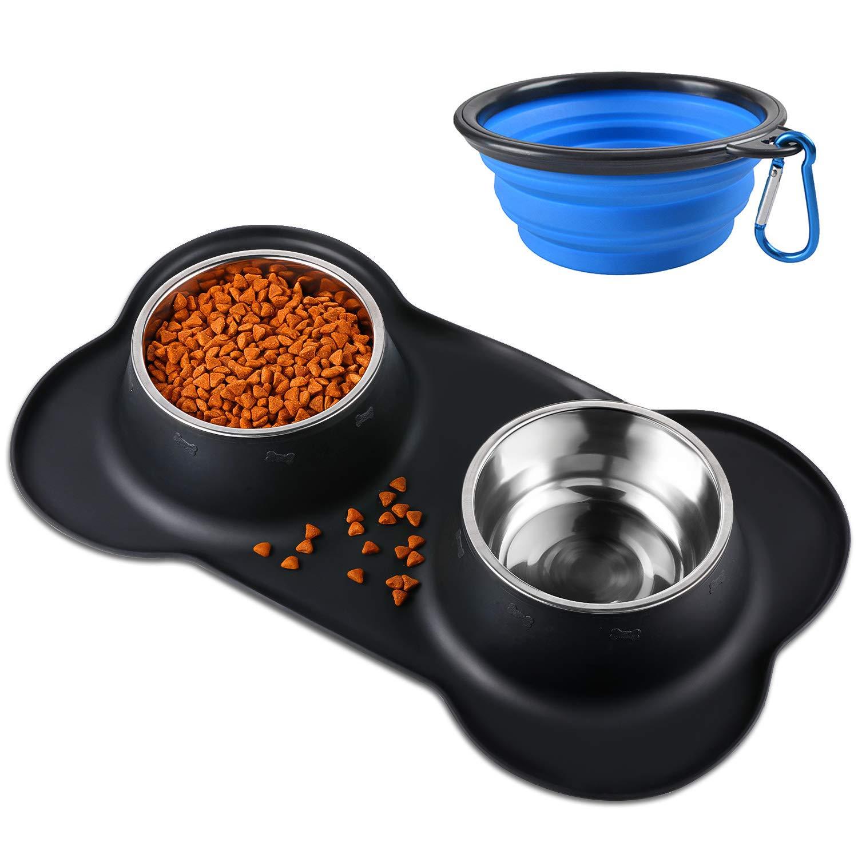 Bonve Pet Comedero para Perro Gato y Mascotas de Acero Inoxidable, con Comedero Plegable, Base de Silicona Antideslizante, 2 Cuencos Comedero para Comida y Agua (2 x 400ml) product image