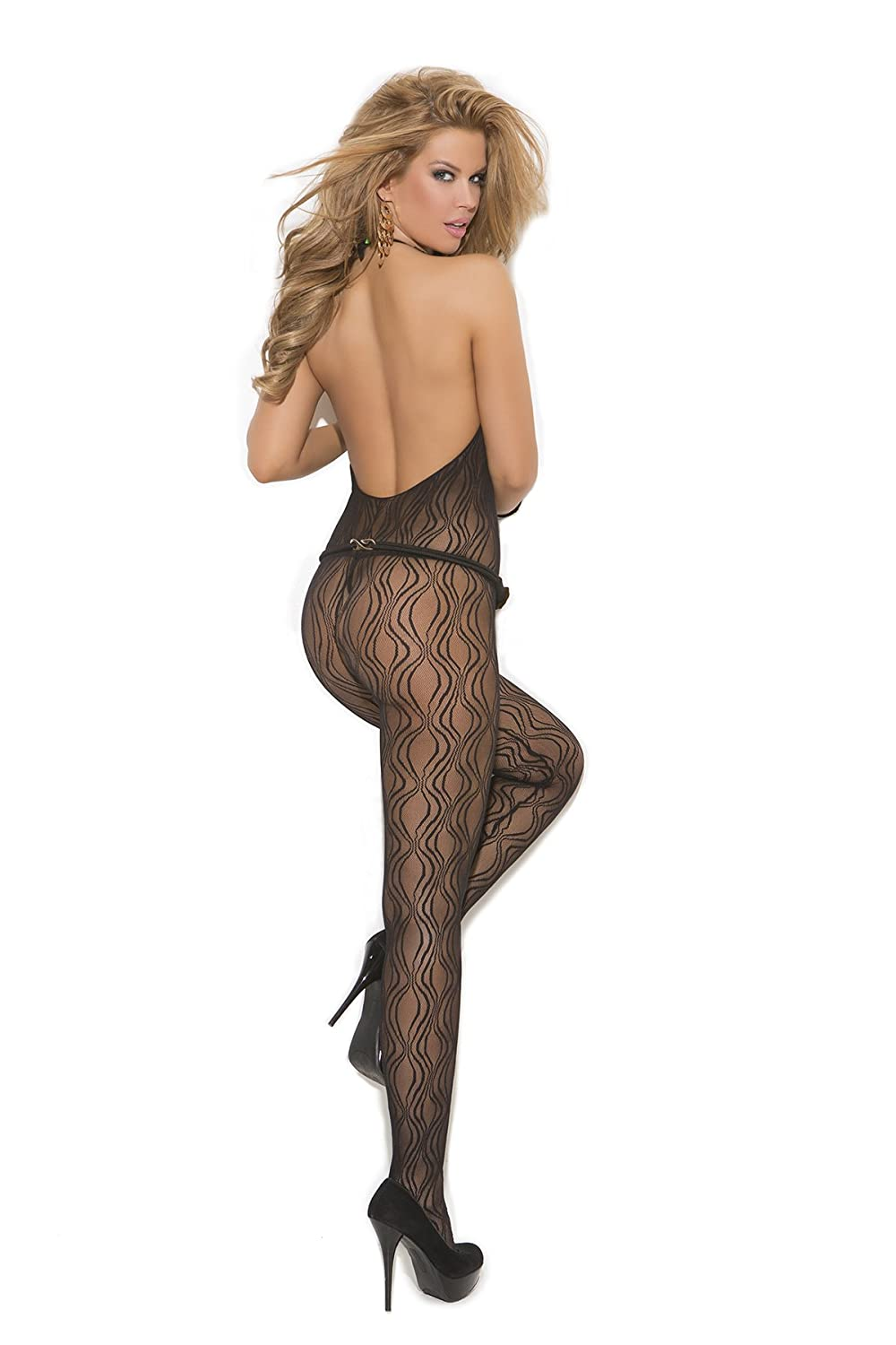 7b62883db7d Amazon.com  Sexy Women s Swirl Lace Halter Style Open Crotch Bodystocking  One Piece Lingerie  Clothing