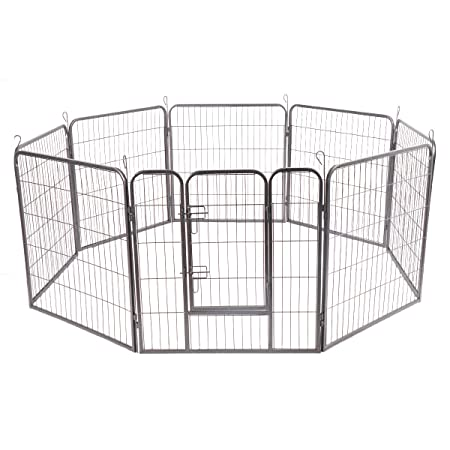 Giantex 24 32 40 48inch Dog Playpen with Door, 16 8 Panel Pet Playpen for Large and Small Dogs, Portable Foldable Freestanding Dog Exercise Pens, Metal Dog Playpen Indoor Outdoor