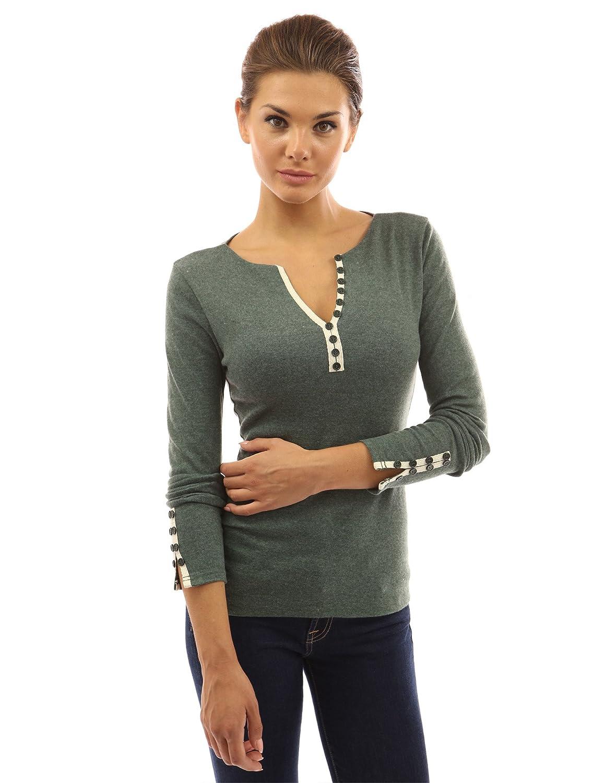 2dd8ddfd8a279b PattyBoutik Women Notch Neck Buttons Trim Blouse Top at Amazon Women's  Clothing store: