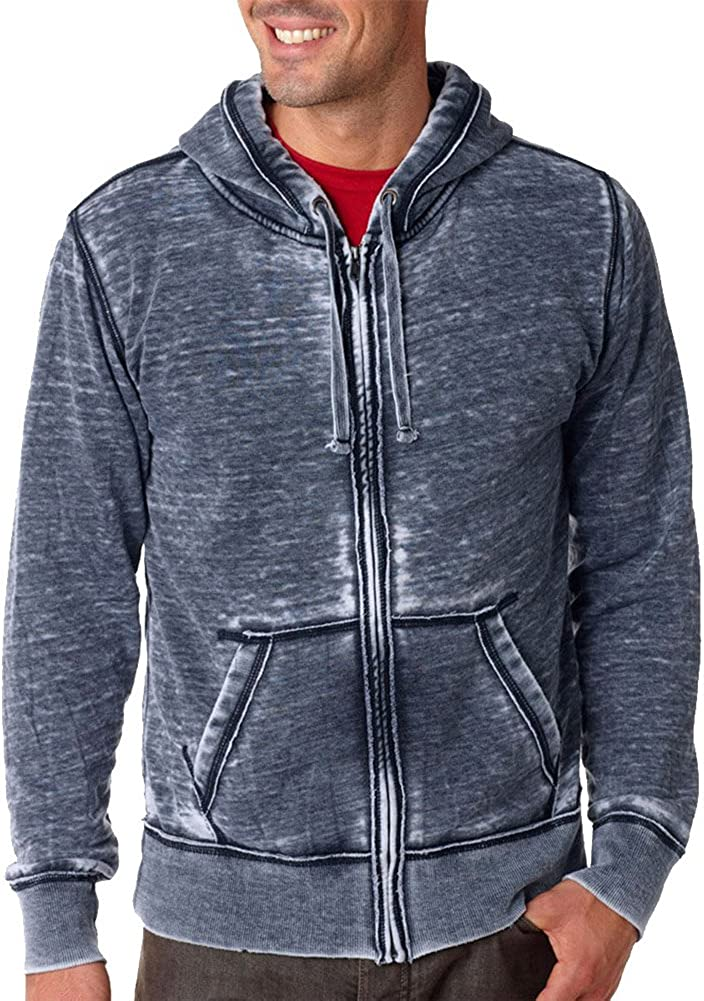 J.America Adult Vintage Zen Full-Zip Hooded Fleece