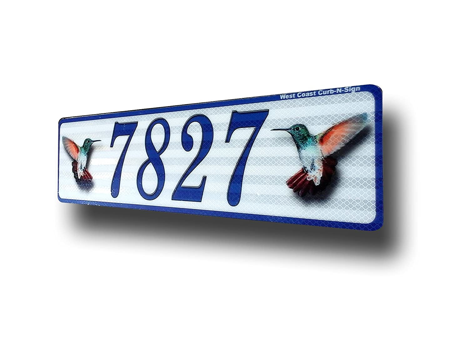 Hummingbird, Curb, Mailbox, House Address Plaque, Reflective West Coast Curb-N-Sign