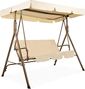 Best Choice Products 2-Person Outdoor Large Convertible Canopy Hanging Swing Glider Lounge Chair w/Adjustable Shade, Removable Cushions - Beige