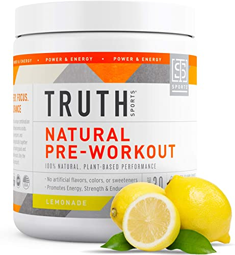 All Natural Pre Workout Powder- Plant Based, Keto Vegan Friendly Preworkout – Energy, Focus Performance – Boost Muscle Strength Endurance- Truth Nutrition 30 Servings – Lemonade