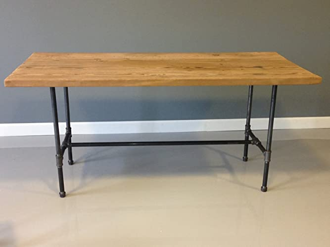 Beautiful Barn Wood Dining Table With Industrial Steel Pipe Legs