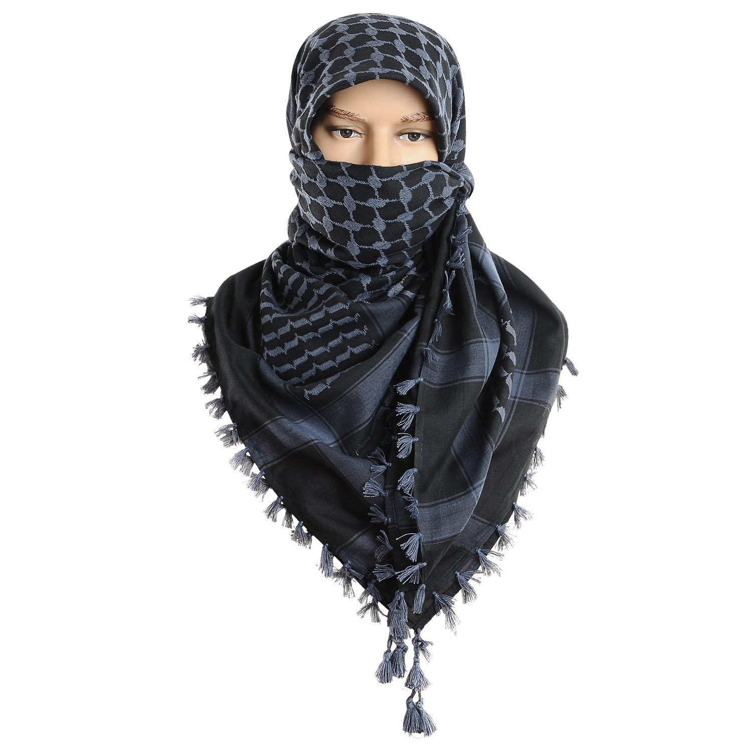 Micoop Large Size Premium Shemagh Scarf Arab Military Tactical Desert Scarf Wrap(48 by 48 inches) (Black Dark Blue)